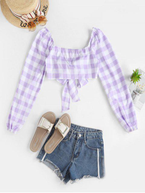 hot Gingham Print Front Tie Cropped Blouse - MAUVE M Mobile