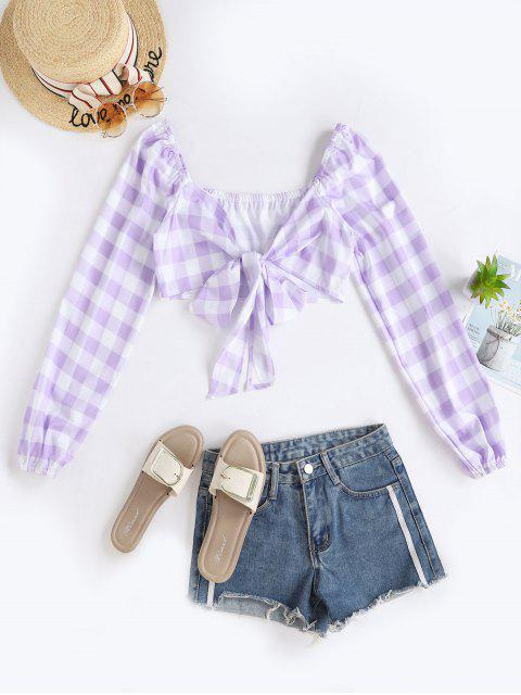 buy Gingham Print Front Tie Cropped Blouse - MAUVE S Mobile