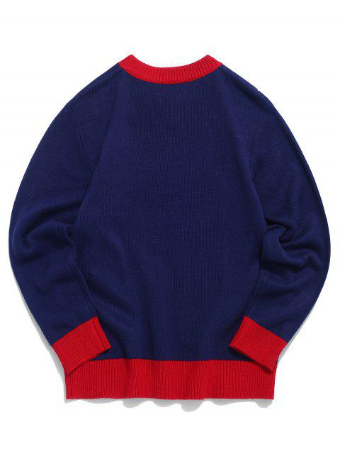 lady Santa Claus Letter Pattern Pullover Sweater - NAVY BLUE L Mobile