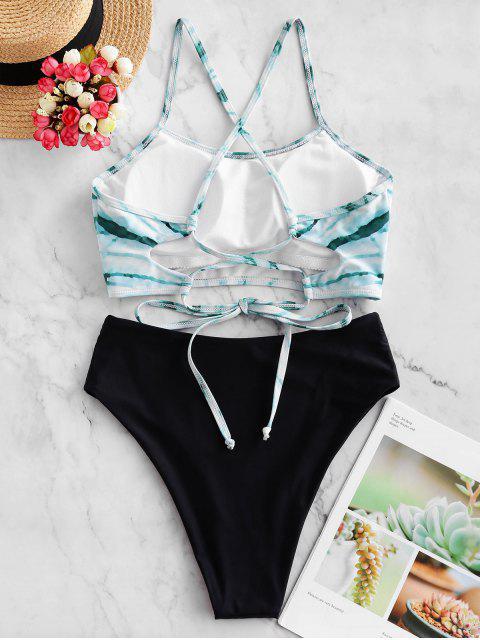 ZAFUL espiral del teñido anudado de impresión de alta corte en cruz de Tankini del traje de baño - Multicolor-A 2XL Mobile