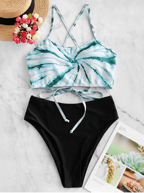 ZAFUL espiral del teñido anudado de impresión de alta corte en cruz de Tankini del traje de baño - Multicolor-A M Mobile
