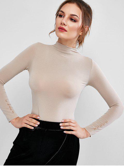 Camiseta Llana de Mangas Cortas con Cuello Simulado - Caqui Claro Talla única Mobile