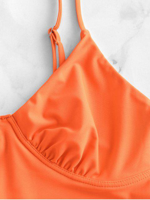 ZAFUL acanalada pechugón de Tankini del traje de baño - Naranja L Mobile