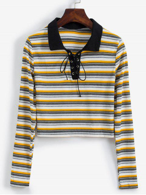 unique Long Sleeve Lace Up Ribbed Stripes Tee - MULTI-A L Mobile