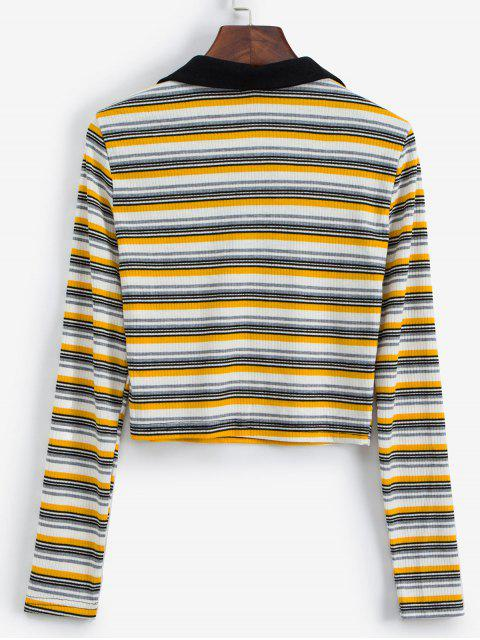 affordable Long Sleeve Lace Up Ribbed Stripes Tee - MULTI-A XL Mobile