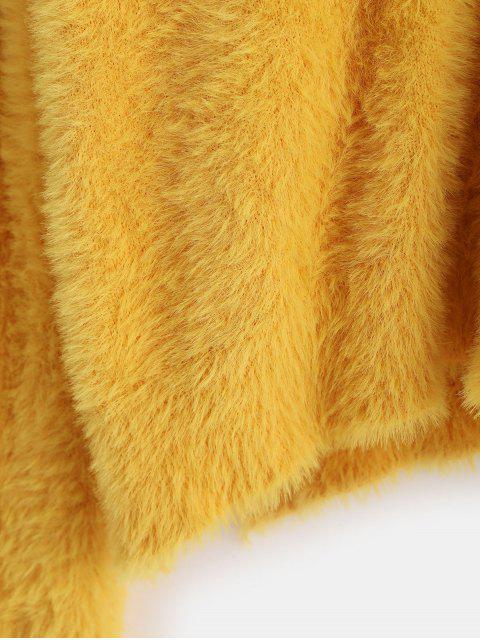 ZAFUL X Luna MontanaSuéterFofo com Fenda Lateral - Amarelo Um Tamanho Mobile