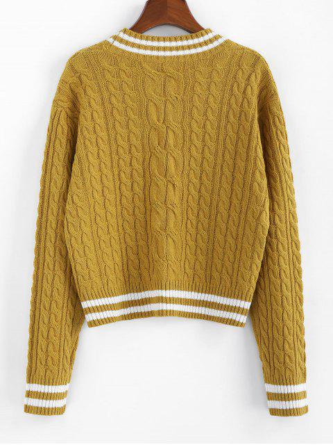 ZAFUL條紋落肩線針織開襟衫 - 姜布朗 XL Mobile