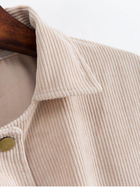 按鈕前貼袋的燈心絨夾克 - 米色 One Size Mobile