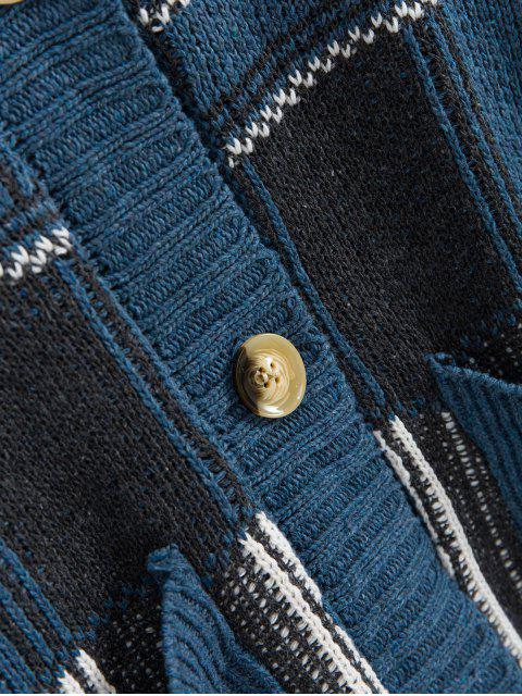 Karierte Drop Schulter Tasche Einreiher Strickjacke - Multi Eine Größe Mobile