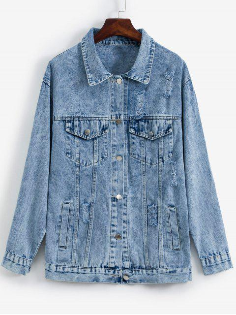 sale Pockets Button Front Distressed Denim Jacket - BABY BLUE ONE SIZE Mobile