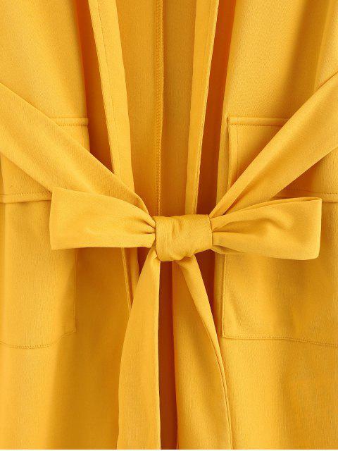 ZAFUL Kerbe Revers Taschen Tunika Weste mit Gürtel - Biene Gelb L Mobile