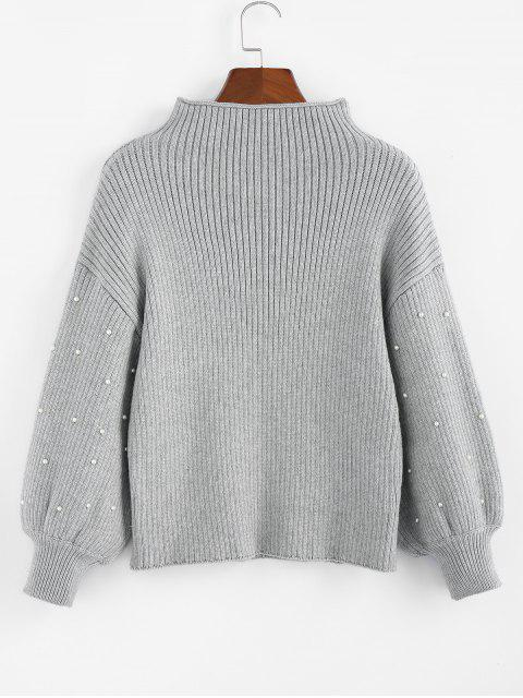 ZAFUL捲邊模擬領燈籠袖毛衣 - 灰色雲彩 S Mobile