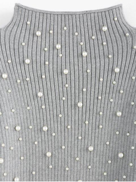 hot ZAFUL Beading Mock Neck Lantern Sleeve Sweater - GRAY CLOUD S Mobile