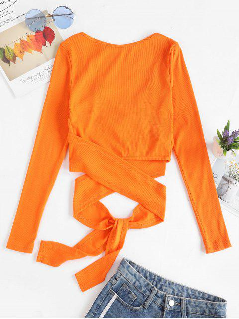 affordable Cropped Ribbed Wrap Top - ORANGE M Mobile
