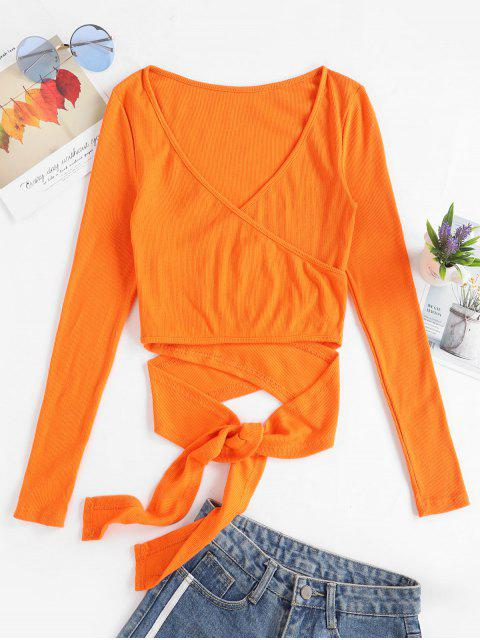 trendy Cropped Ribbed Wrap Top - ORANGE S Mobile