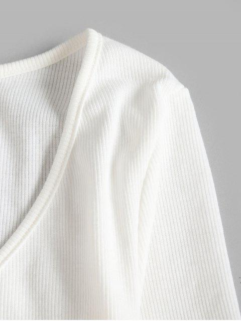 hot Cropped Ribbed Wrap Top - WHITE XL Mobile