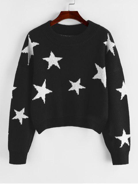 new ZAFUL Star Drop Shoulder Jumper Sweater - BLACK S Mobile