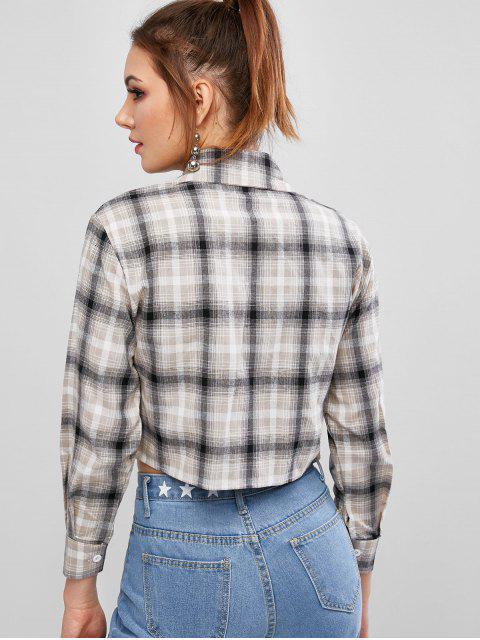 チェックモックポケットクロップドシャツ - マルチA XL Mobile