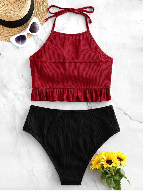 online ZAFUL Textured Ribbed Ruffle Halter Tankini Swimsuit - RED WINE S Mobile