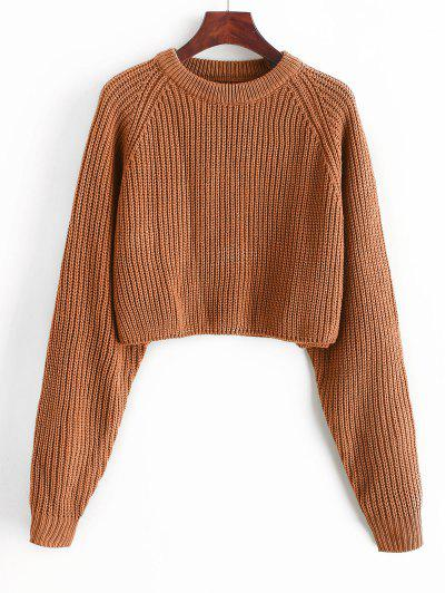 ZAFUL Raglan Sleeve Crop Jumper Sweater - Tiger Orange S
