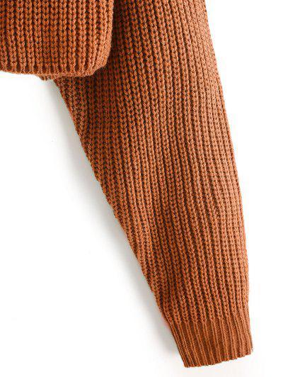 ZAFUL Raglan Sleeve Crop Jumper Sweater, Tiger orange
