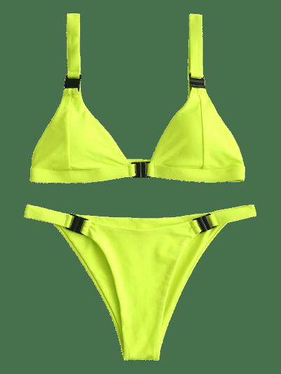 ZAFUL Neon Plunge Front Closure Bikini Swimsuit