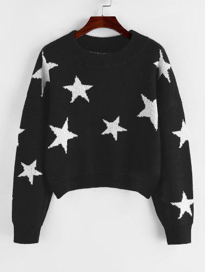 ZAFUL Star Drop Shoulder Jumper Sweater - Black M
