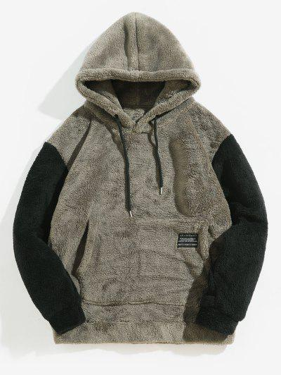 Color-blocking Pouch Pocket Fluffy Hoodie - Battleship Gray M