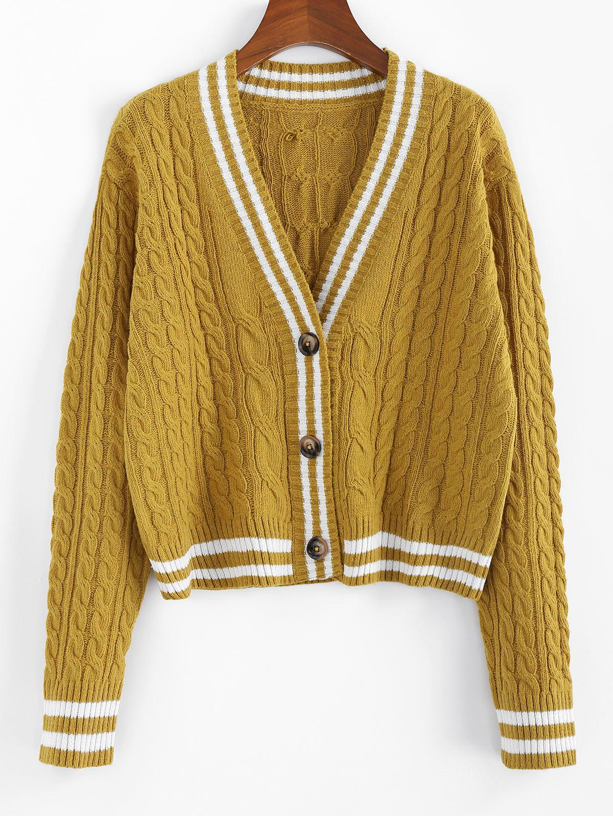 ZAFUL Striped Drop Shoulder Cable Knit Cardigan