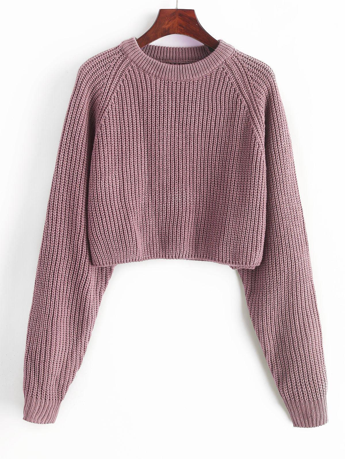 ZAFUL Raglan Sleeve Crop Jumper Sweater