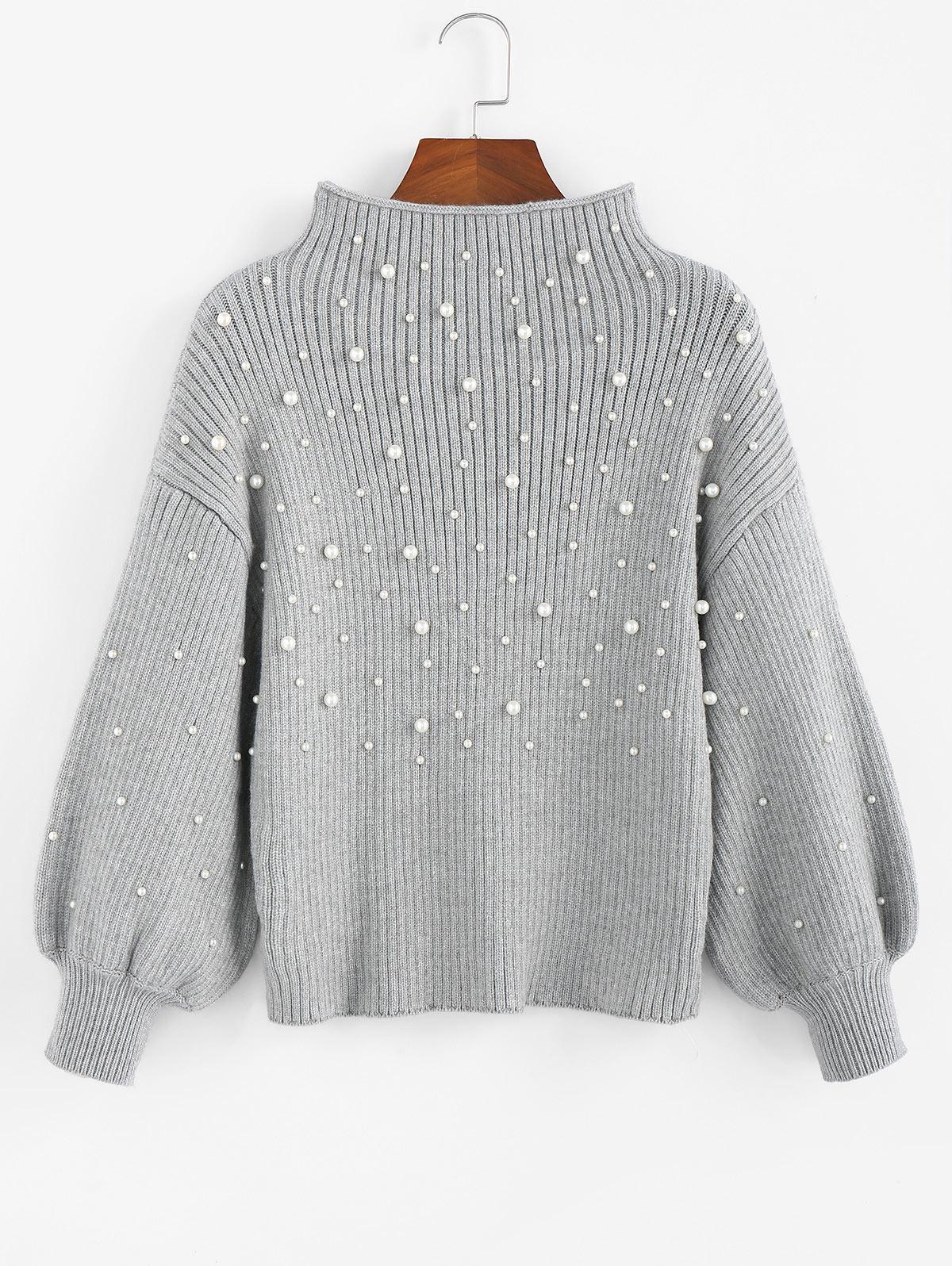 ZAFUL Beading Mock Neck Lantern Sleeve Sweater