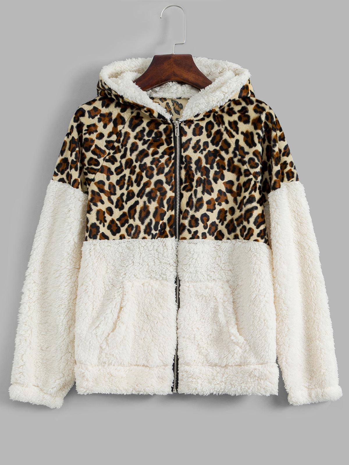 Hooded Zip Up Leopard Panel Teddy Jacket