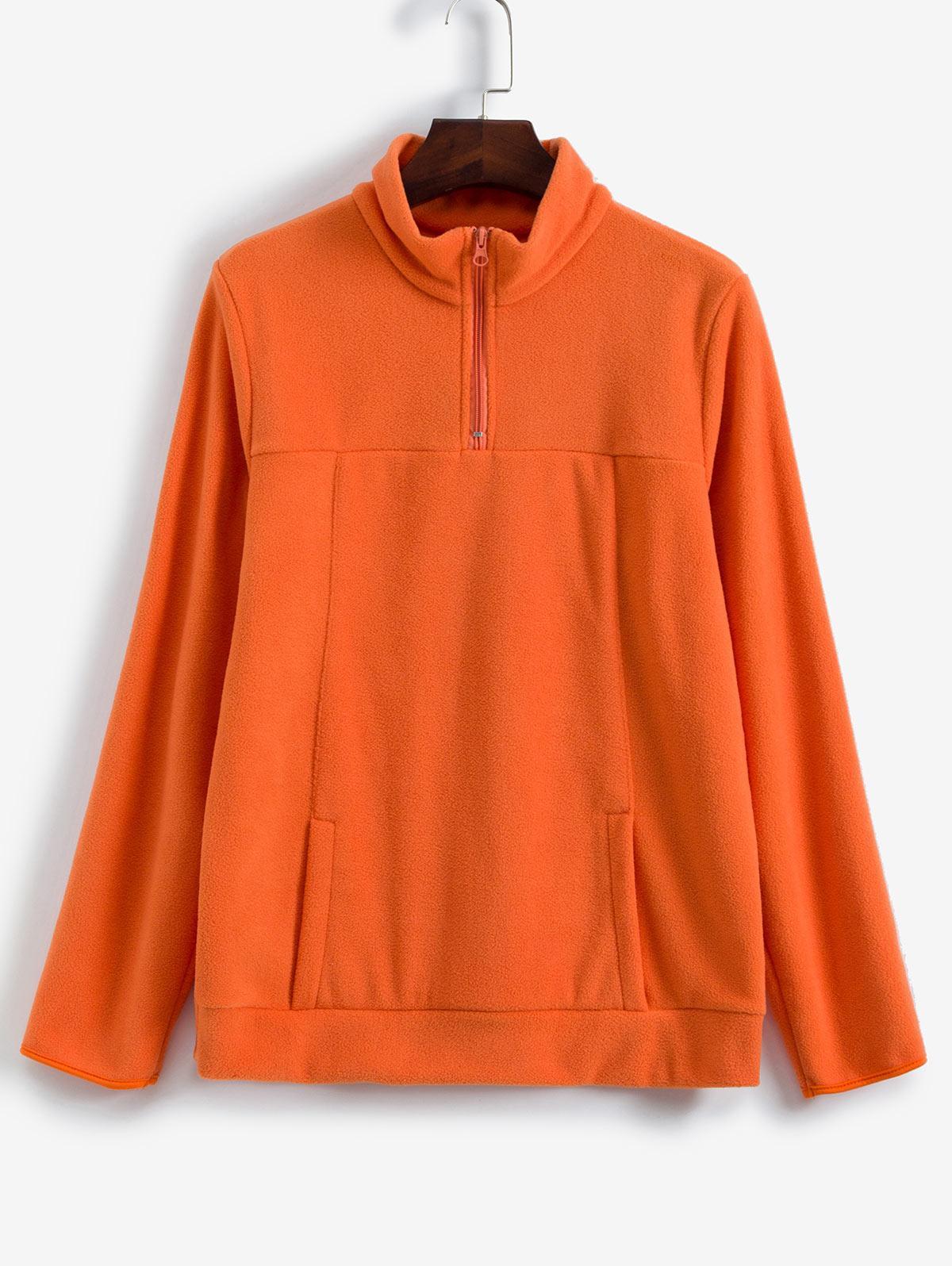 Front Pocket Quarter Zip Fleece Pullover Sweatshirt