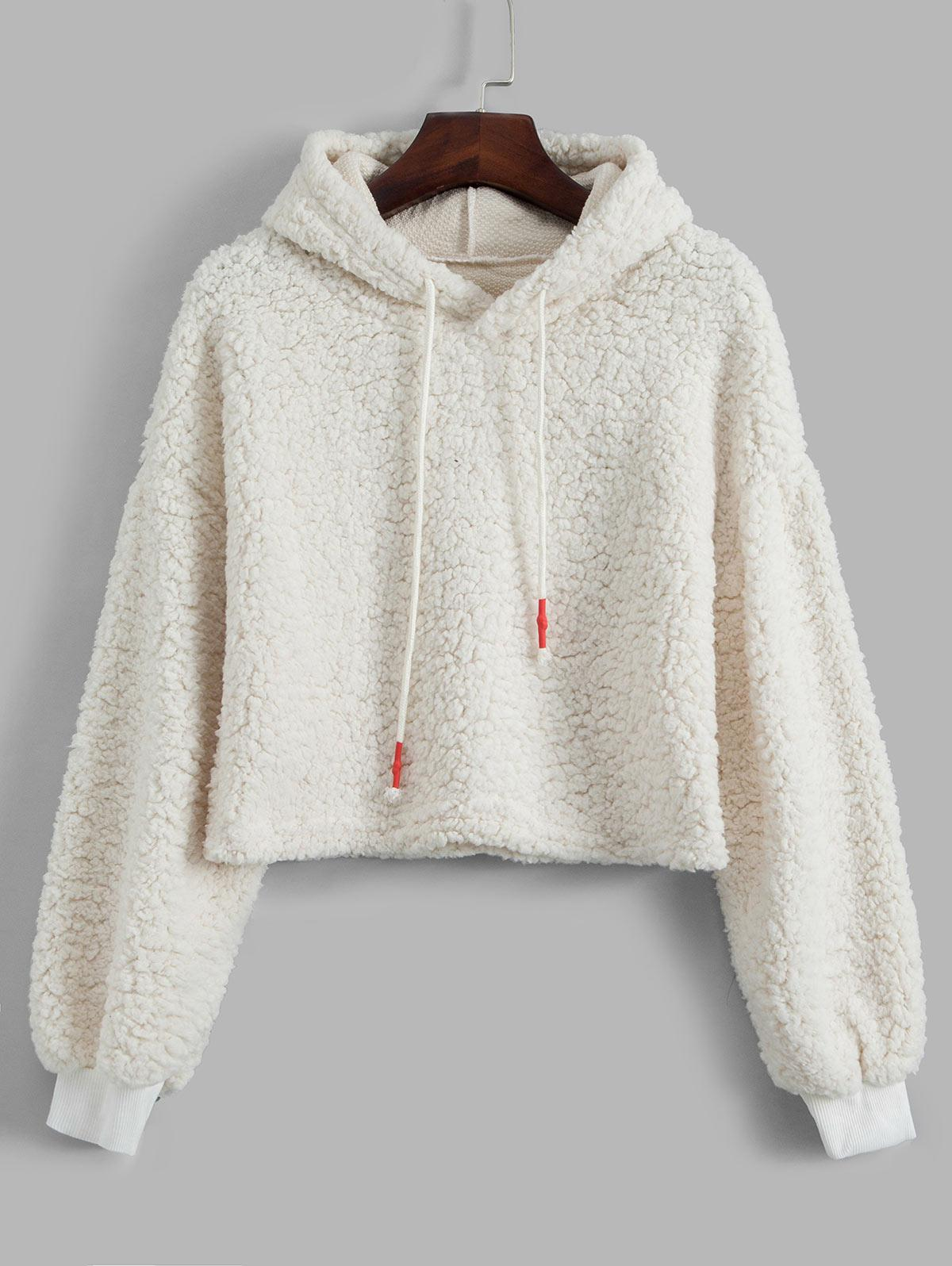 Plain Drawstring Drop Shoulder Teddy Hoodie