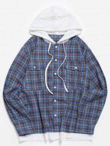 نمط منقوشة ذات أكمام طويلة قميص الجيب - أزرق L