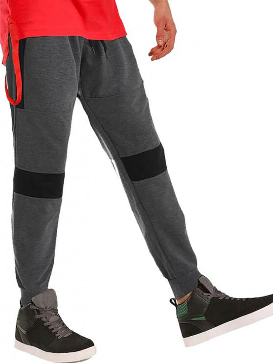 affordable Color-blocking Casual Jogger Pants - ASH GRAY S