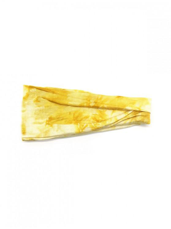 shop Tie Dyed Elastic Athletic Headband - YELLOW