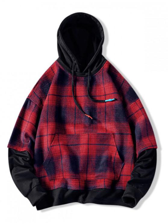 shop Plaid Contrast Color Spliced Faux Twinset Hoodie - CHESTNUT RED 3XL