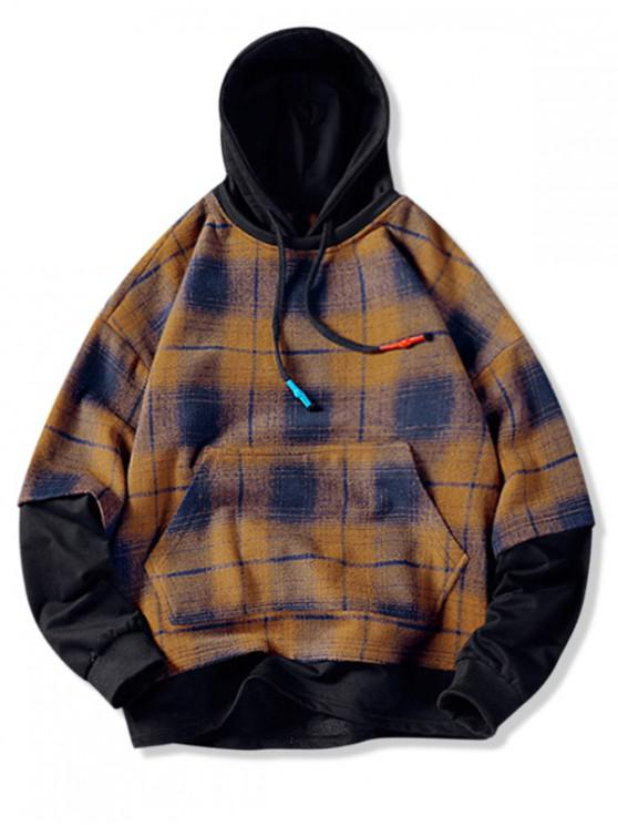 fashion Plaid Contrast Color Spliced Faux Twinset Hoodie - ORANGE GOLD 2XL