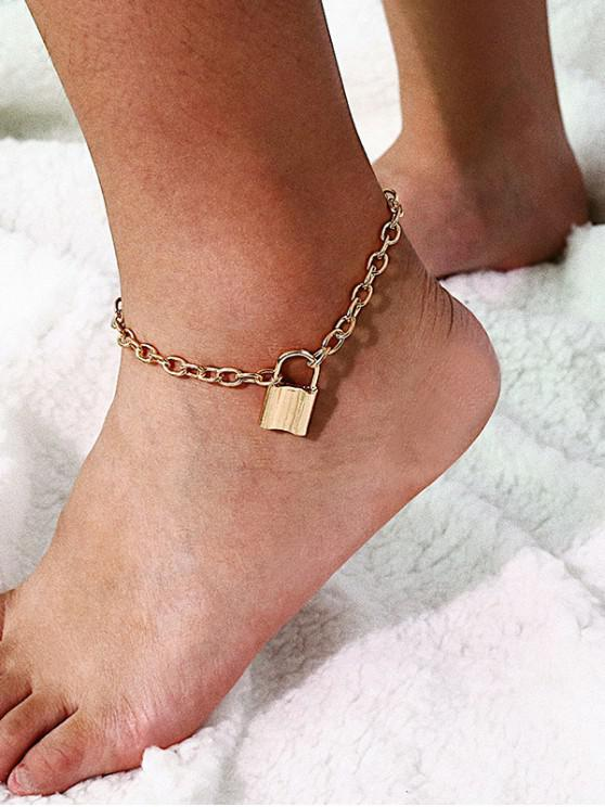 hot Simple Locking Chain Anklet - GOLD