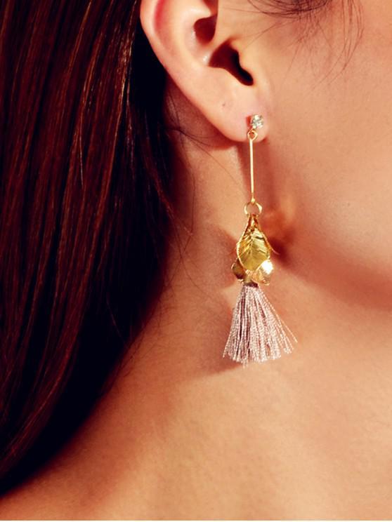 womens Leaves Shape Tassel Dangle Earrings - GOLD