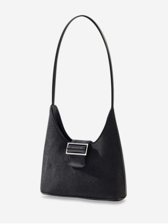 เกี๊ยว Retro หัวเข็มขัดออกแบบกระเป๋าสะพายเดี่ยว - สีดำ