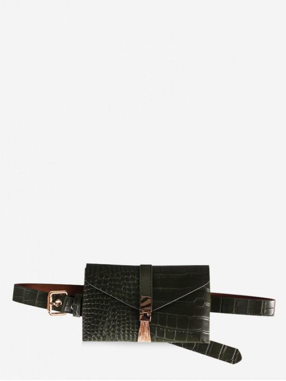 shops PU Leather Animal Printed Tassel Waist Bag - GREEN