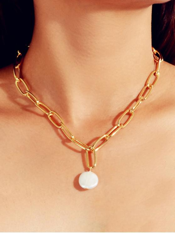 online Round Pearl Pendant Chain Necklace - GOLD