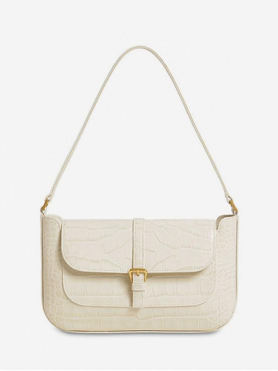 trendy Buckle Solid Retro Shoulder Bag - MILK WHITE