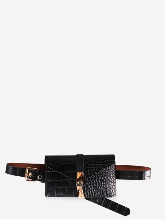 unique PU Leather Animal Printed Tassel Waist Bag - BLACK