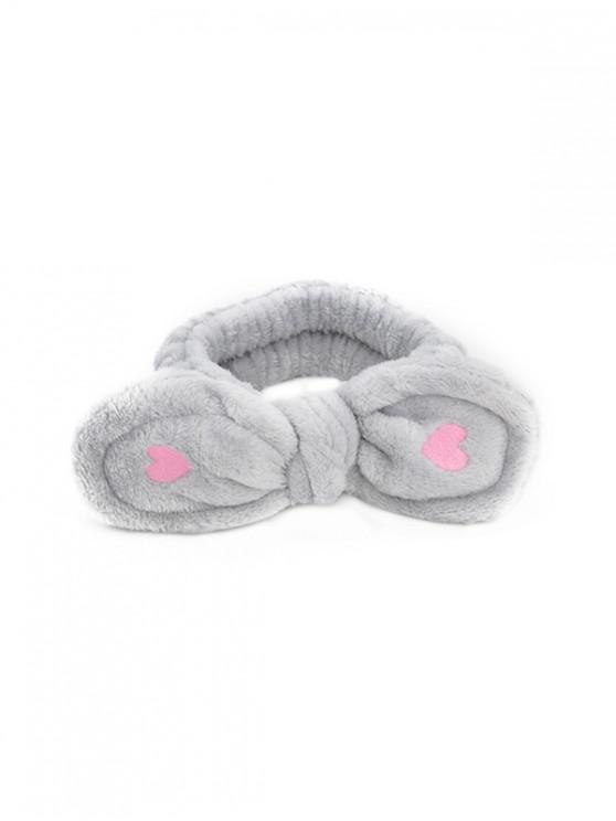 buy Heart Bowknot Fleece Elastic Headband - GRAY