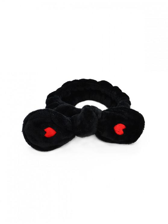 lady Heart Bowknot Fleece Elastic Headband - BLACK