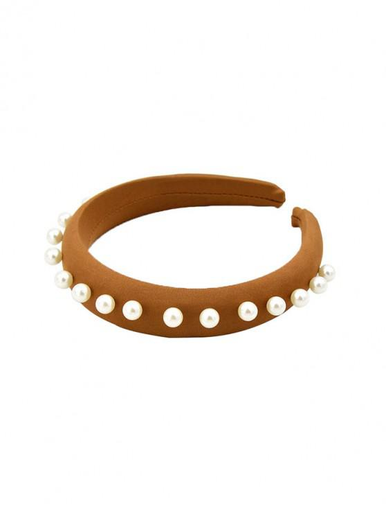 latest Faux Pearl Fabric Wide Hairbands - COFFEE