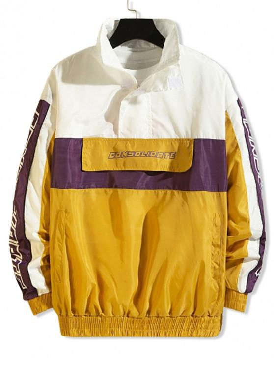 women's Letter Graphic Color Blocking Spliced Half Zipper Pullover Jacket - YELLOW M